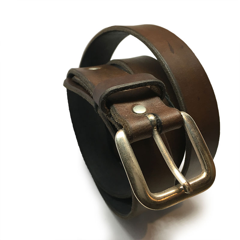 Brown Spanish Calfskin Belt III with Vintage Buckle