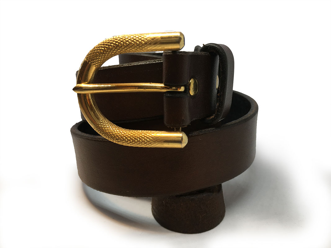 Brown Spanish Calfskin Belt with Vintage Buckle