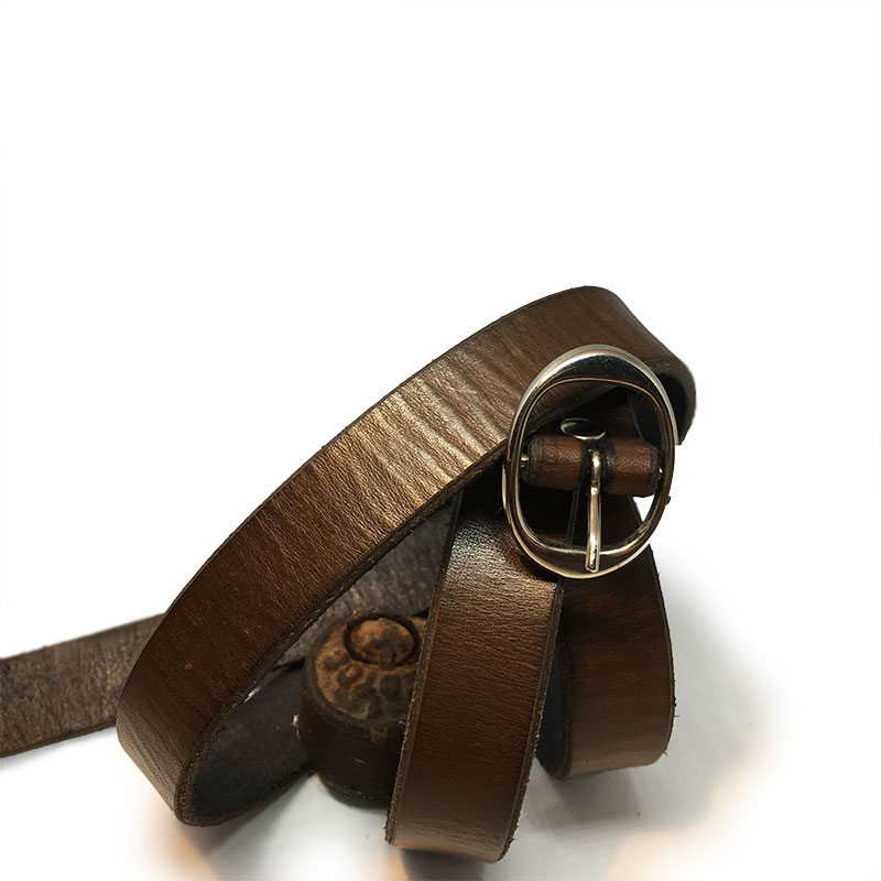 Brown Thin Ladies Belt II with Vintage Buckle