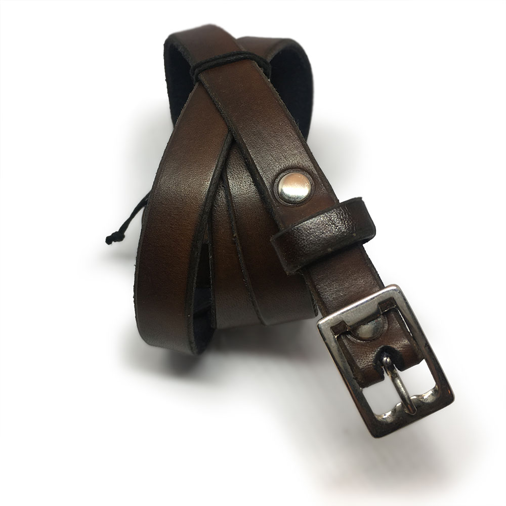 Dark Brown Kids Belt with Vintage Buckle