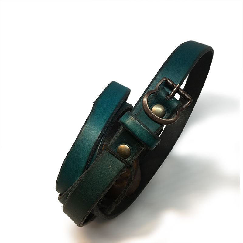 Green Thin Ladies Belt with Vintage Buckle